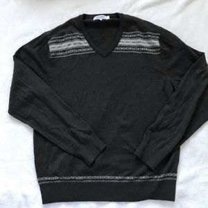 Calvin Klein V- Neck Knit Sweater Large